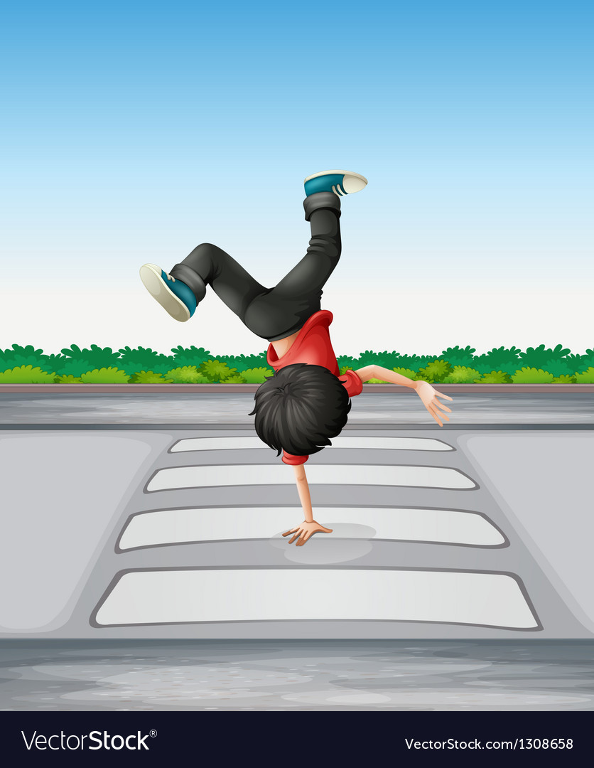 A boy breakdancing at the pedestrian lane vector | Price: 1 Credit (USD $1)