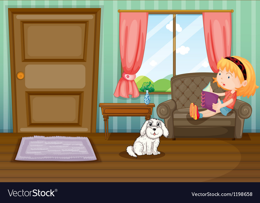 A girl reading a book with a dog vector | Price: 1 Credit (USD $1)
