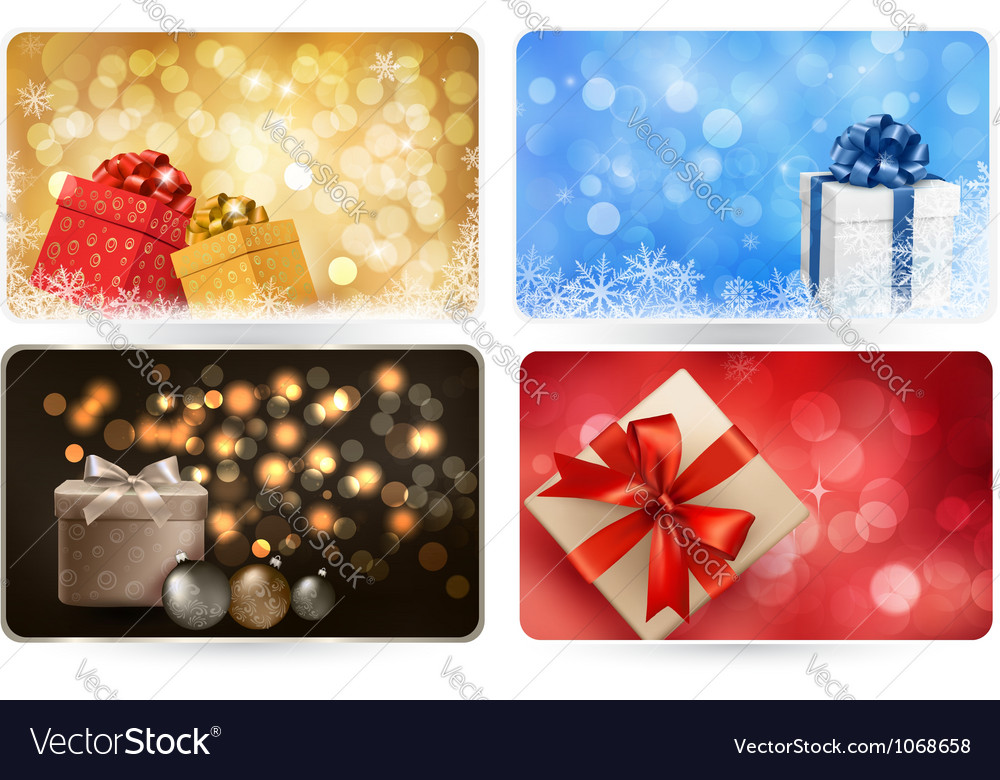 Collection of christmas backgrounds with gift box vector | Price: 1 Credit (USD $1)