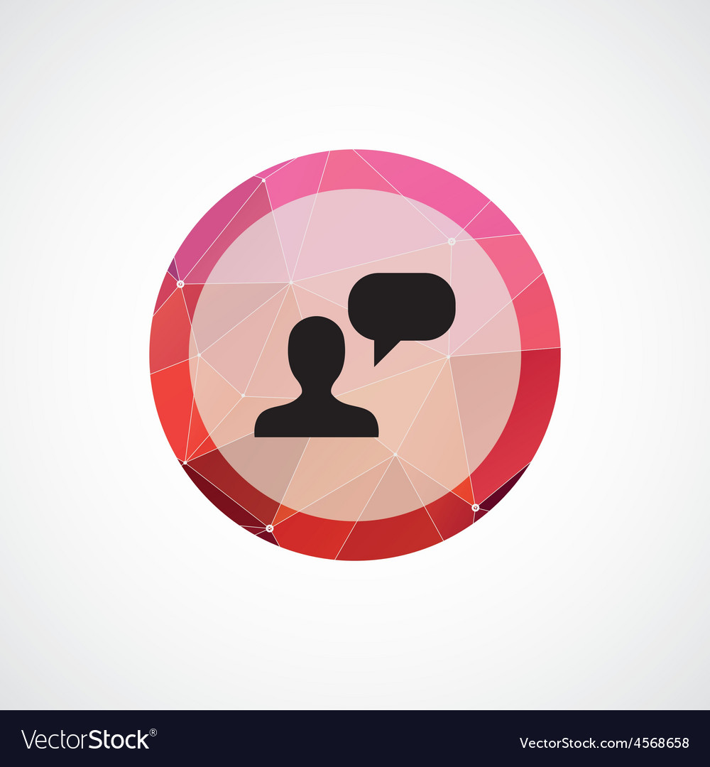 Conversation circle pink triangle background icon vector | Price: 1 Credit (USD $1)