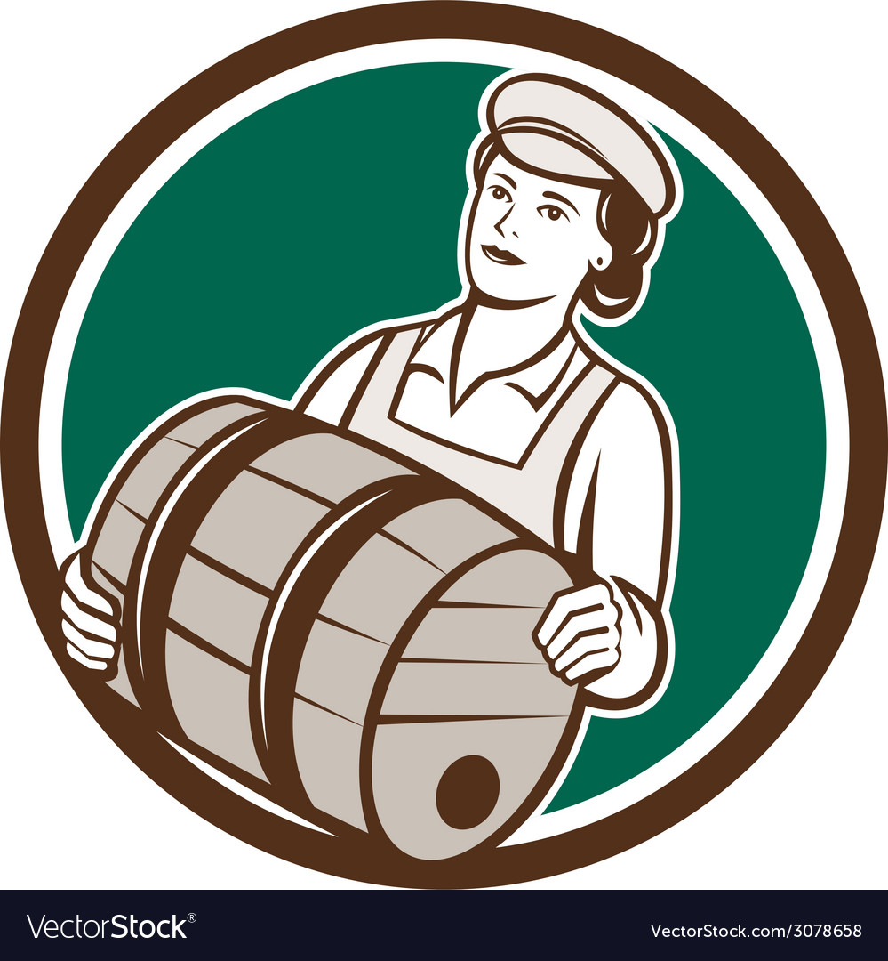 Female bartender carrying keg circle retro vector | Price: 1 Credit (USD $1)
