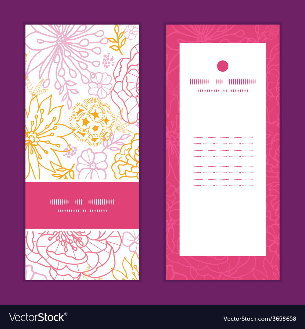 Flowers outlined vertical frame pattern invitation vector | Price: 1 Credit (USD $1)