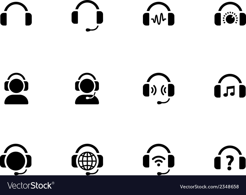 Headphones icons on white background vector | Price: 1 Credit (USD $1)