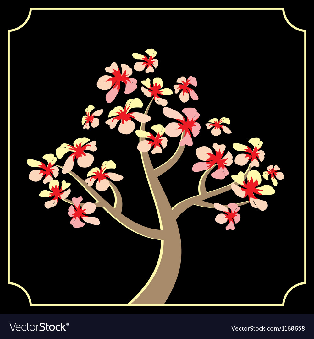 Japanese cherry tree vector | Price: 1 Credit (USD $1)