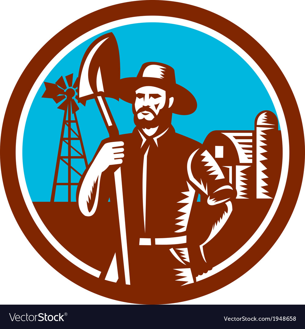 Organic farmer shovel windmill woodcut retro vector | Price: 1 Credit (USD $1)