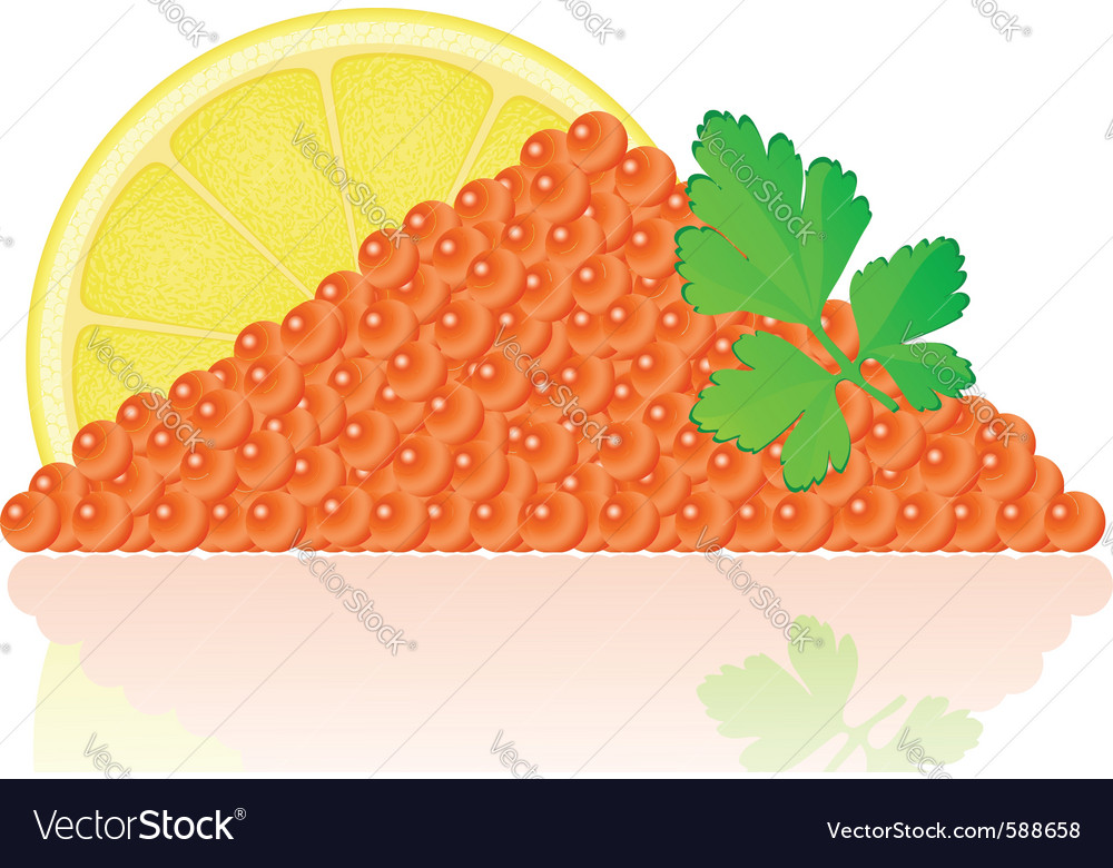 Red caviar with lemon vector | Price: 1 Credit (USD $1)