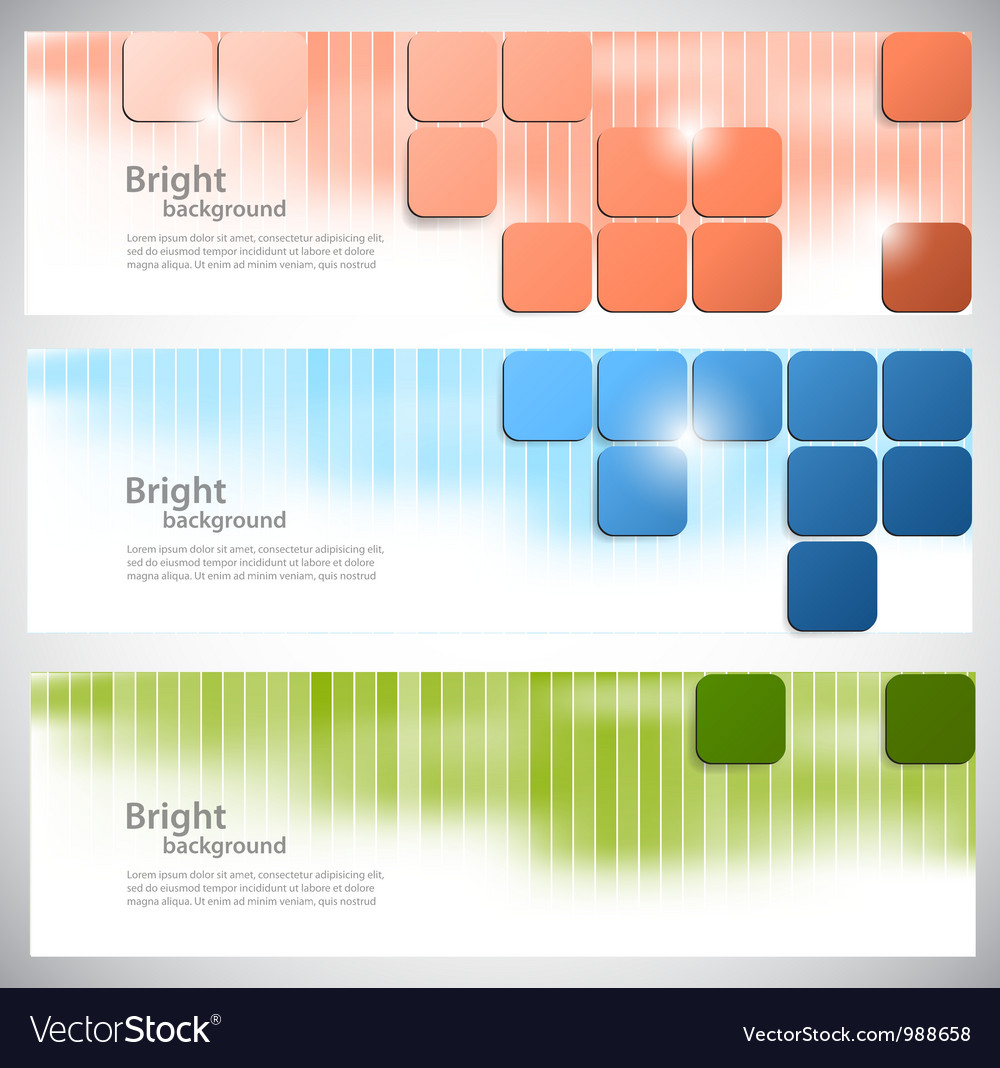 Set of banners with bright squares vector | Price: 1 Credit (USD $1)