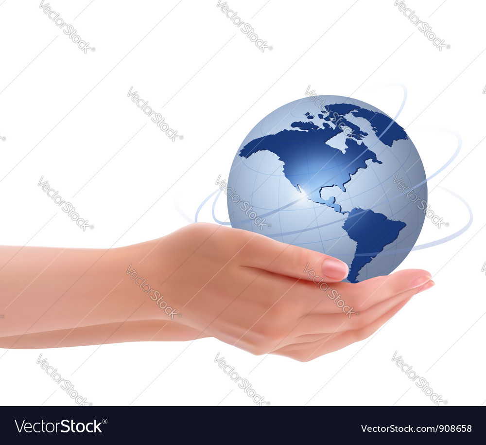 Two hands with globe vector | Price: 3 Credit (USD $3)