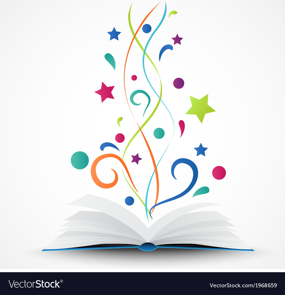 Book opened abstract with colorful star and wave vector | Price: 1 Credit (USD $1)