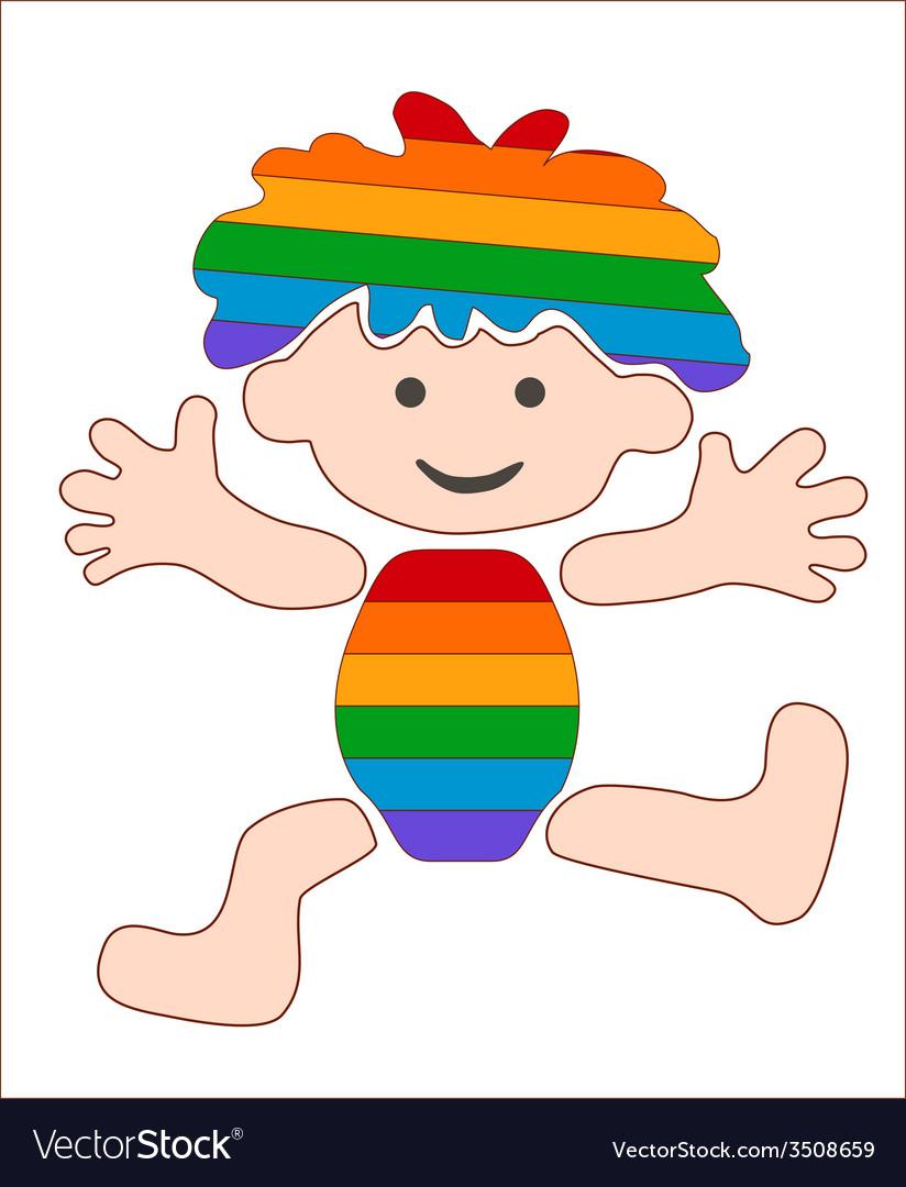 Cheerful rainbow baby stylized image vector | Price: 1 Credit (USD $1)