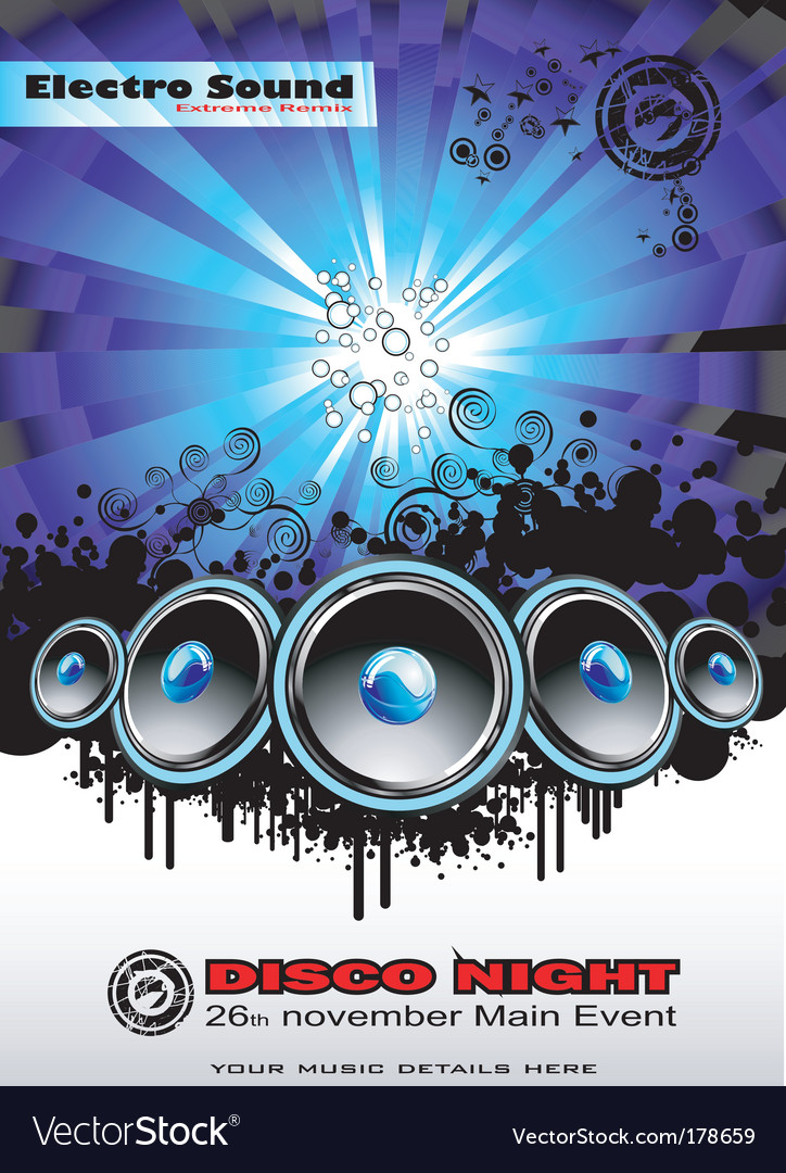 Disco music event background vector | Price: 3 Credit (USD $3)