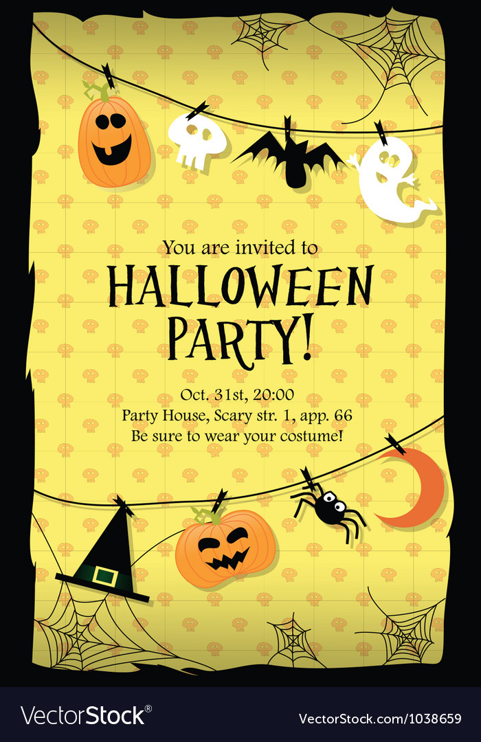 Halloween party invitation card long vector | Price: 1 Credit (USD $1)