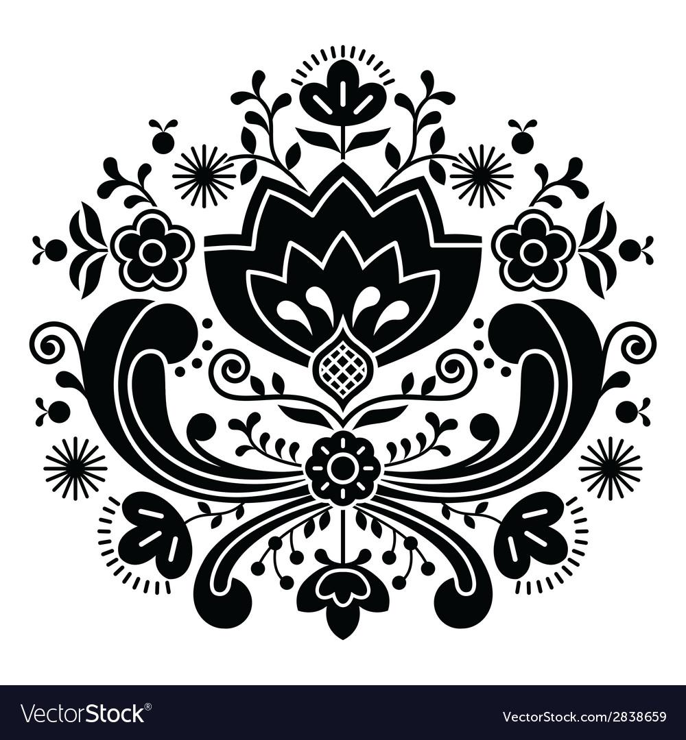 Norwegian folk art bunad black pattern vector | Price: 1 Credit (USD $1)