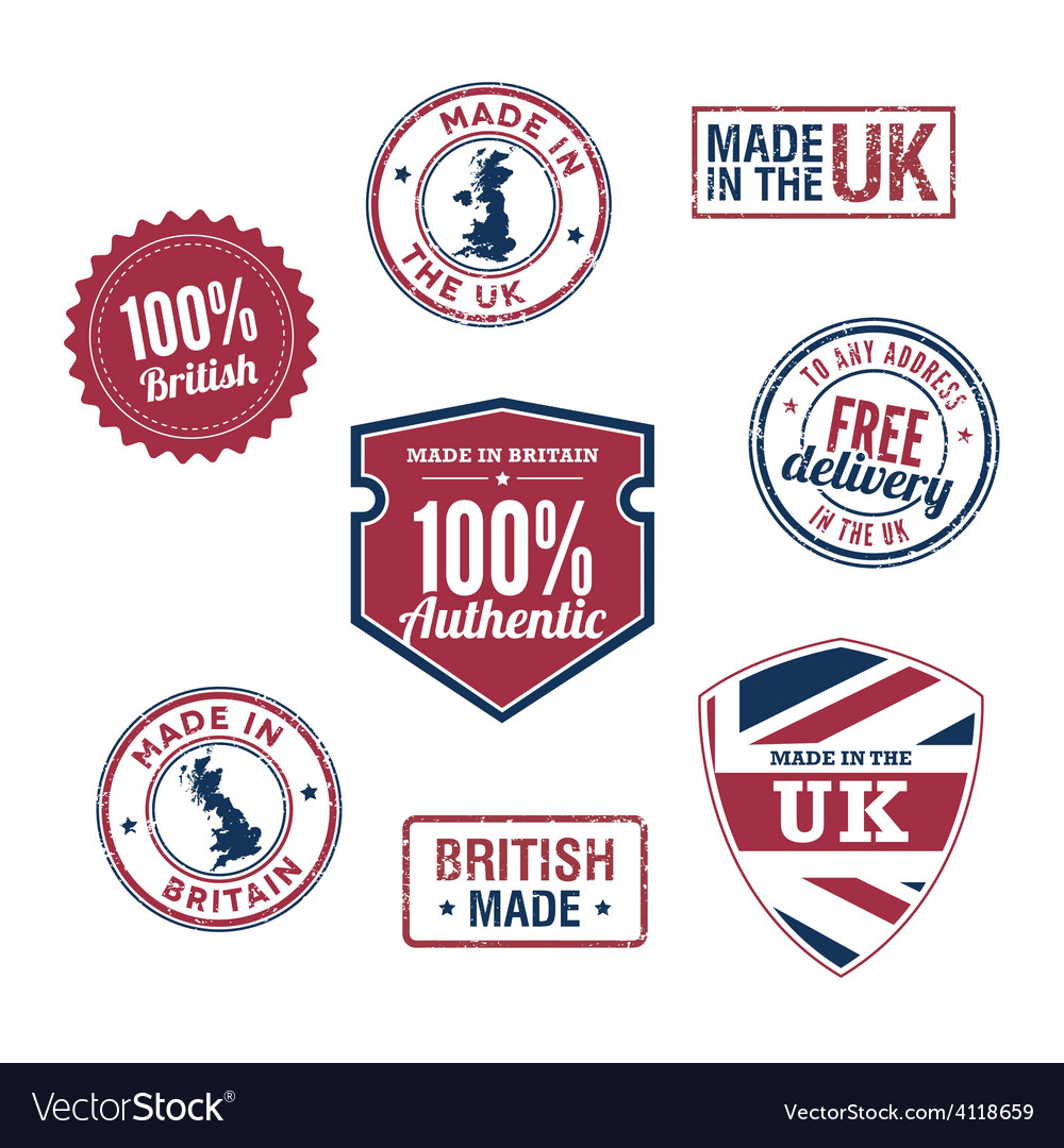 Uk stamps and badges vector