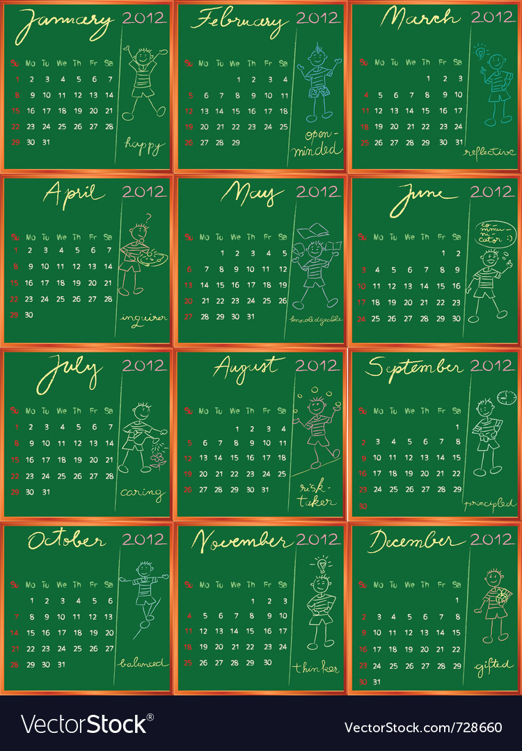 2012 calendar blackboard vector | Price: 1 Credit (USD $1)