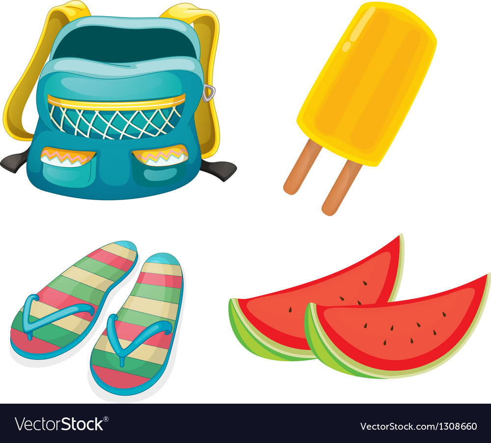 A backpack a pair of slippers and foods for vector | Price: 1 Credit (USD $1)