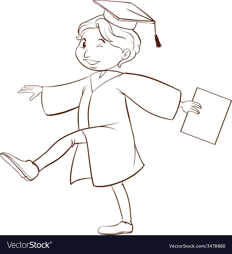 A drawing of a person graduating vector   Price: 1 Credit (USD $1)