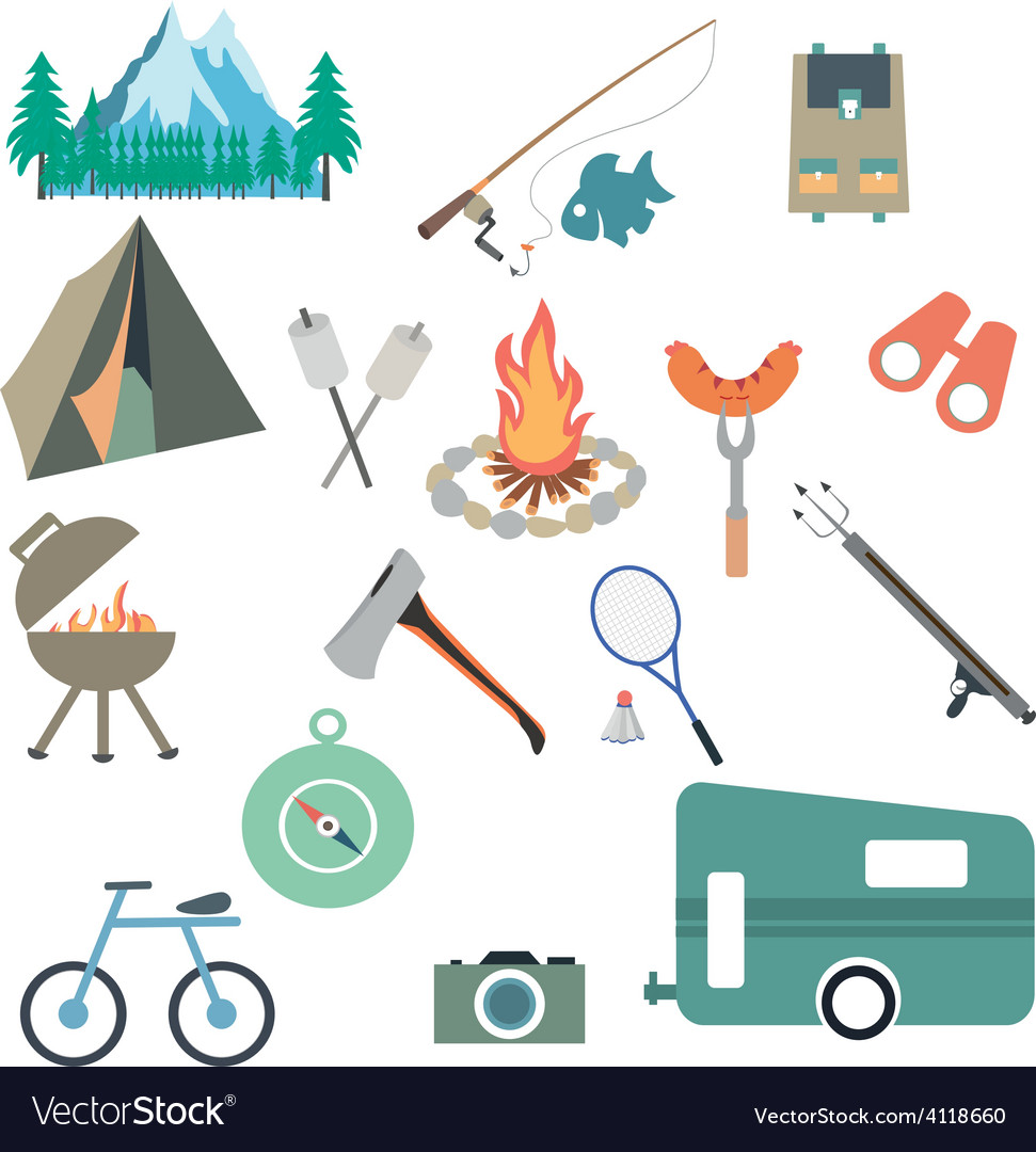 Collection of camping and outdoors themed vector