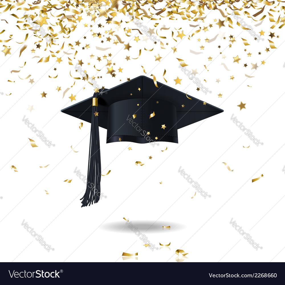Graduate cap and confetti vector | Price: 1 Credit (USD $1)