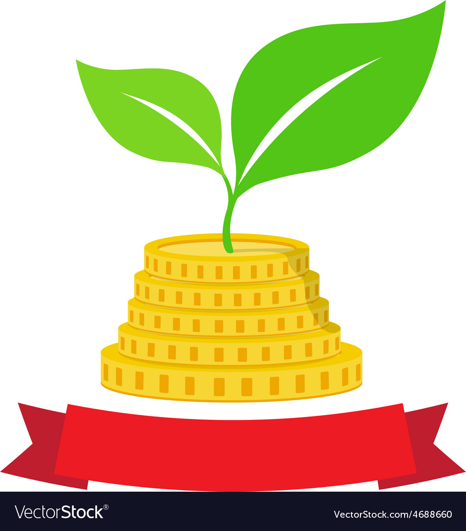Growing investment coin money and green leaf with vector | Price: 1 Credit (USD $1)