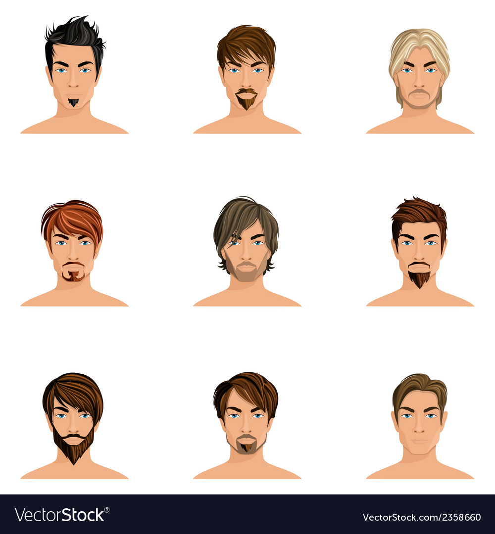 Man hair style set vector | Price: 3 Credit (USD $3)