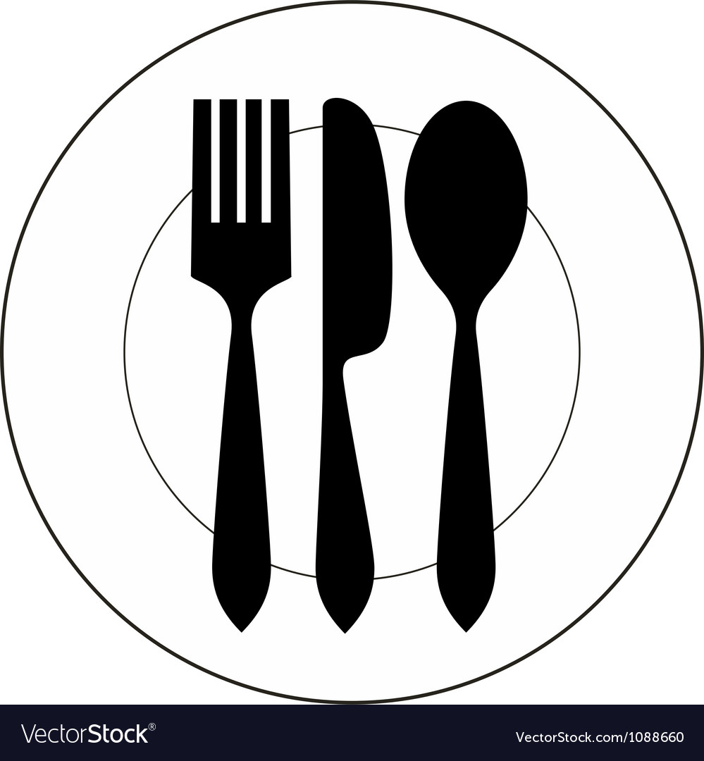 Plate with fork knife and spoon vector | Price: 1 Credit (USD $1)