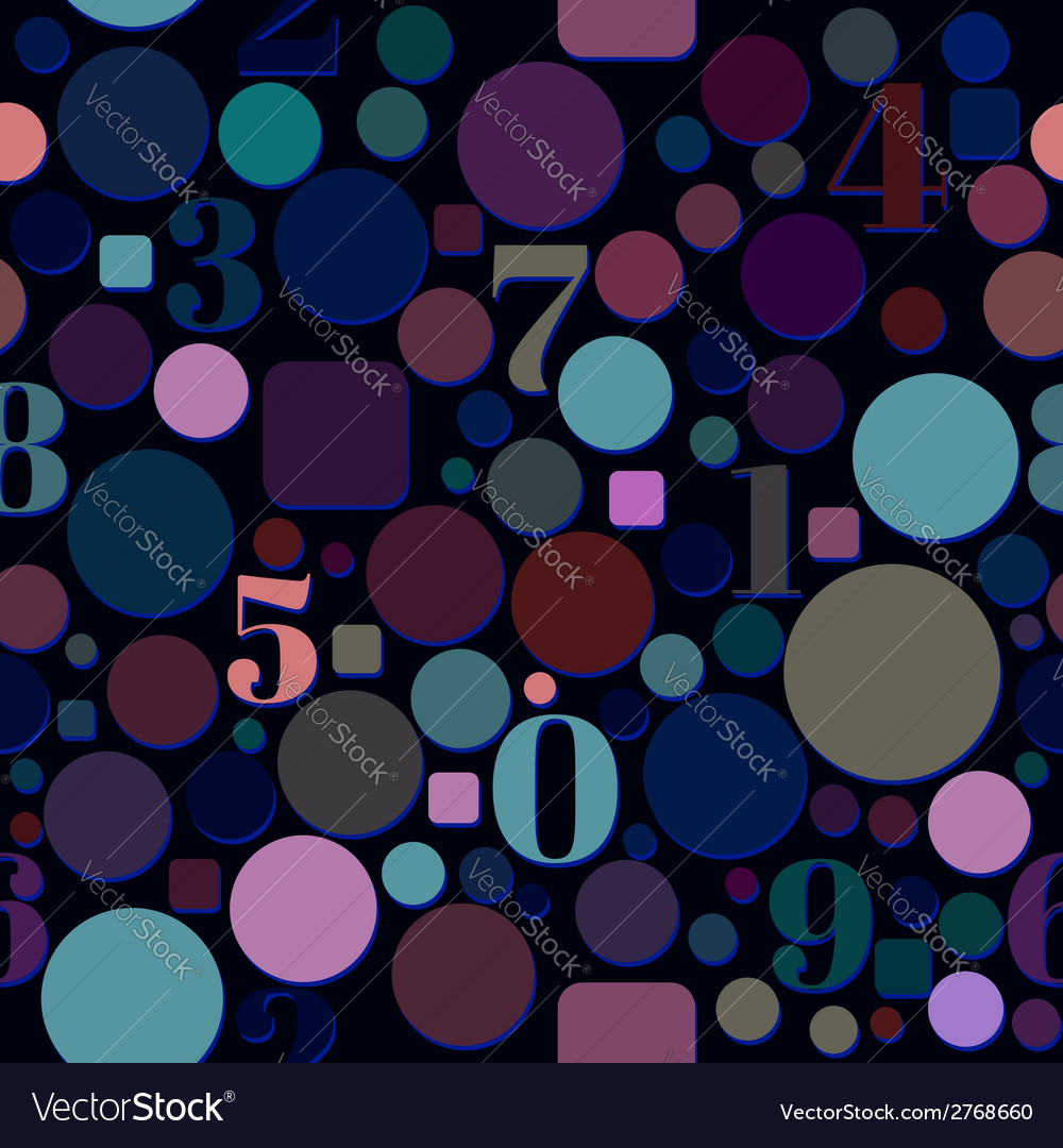 Seamless pattern with numbers and circles vector | Price: 1 Credit (USD $1)