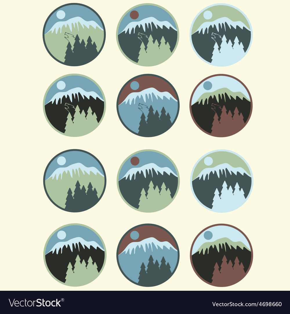 Set of vintage labels with mountainpines and wolf vector | Price: 1 Credit (USD $1)