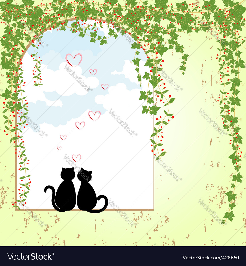 Springtime cat dating vector | Price: 1 Credit (USD $1)