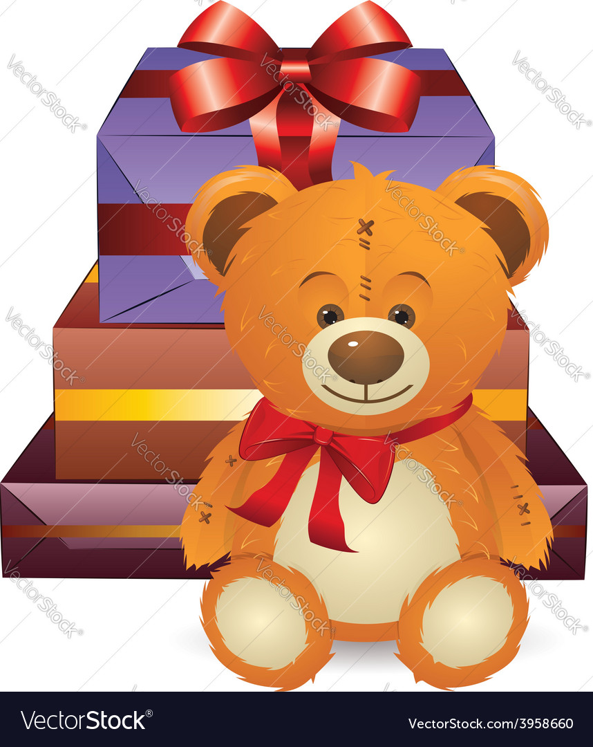 Teddy bear with gift box vector | Price: 3 Credit (USD $3)