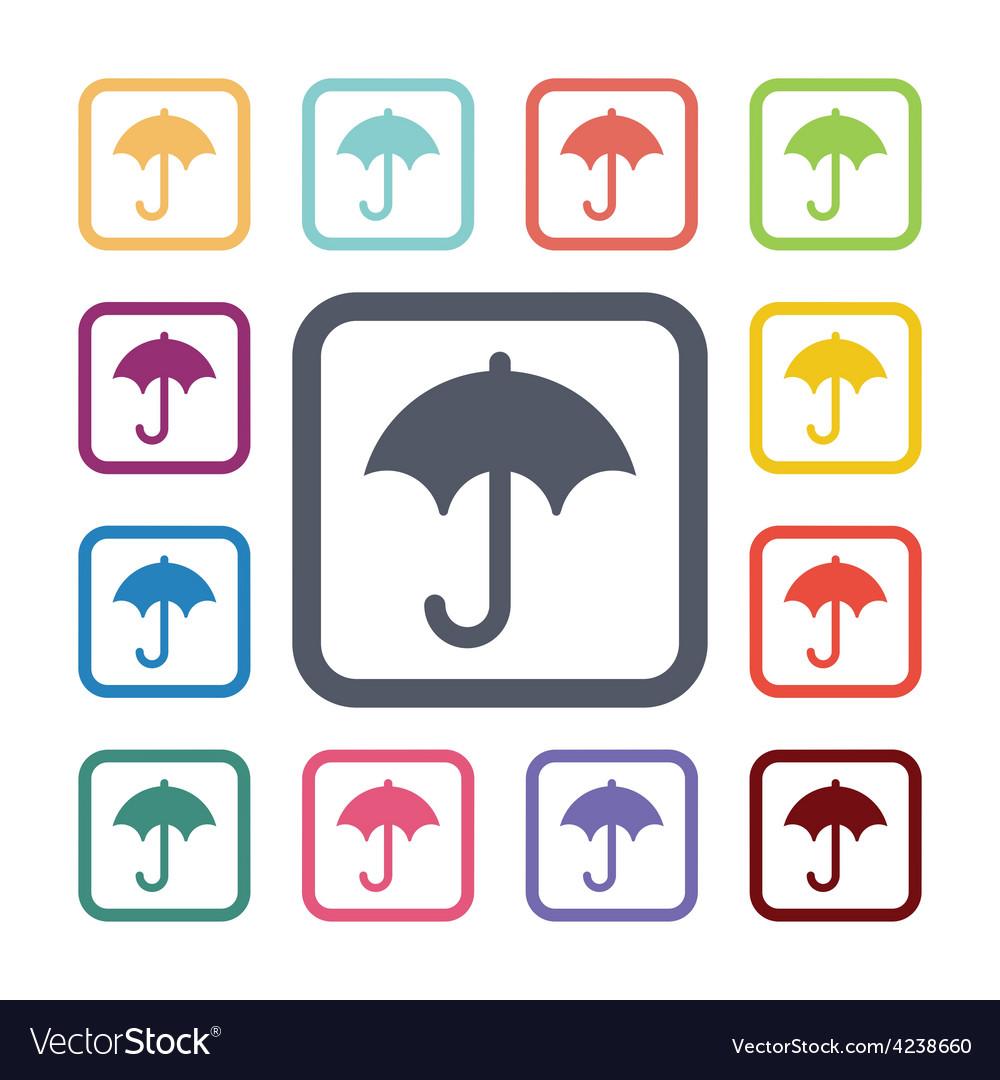 Umbrella flat icons set vector   Price: 1 Credit (USD $1)