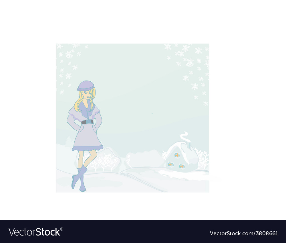 Beautiful winter girl vector | Price: 1 Credit (USD $1)