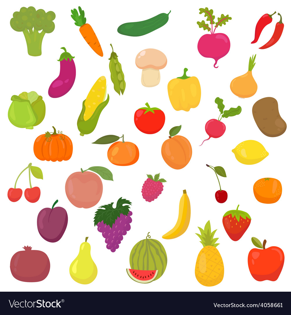 Big collection of vegetables and fruits healthy vector | Price: 1 Credit (USD $1)