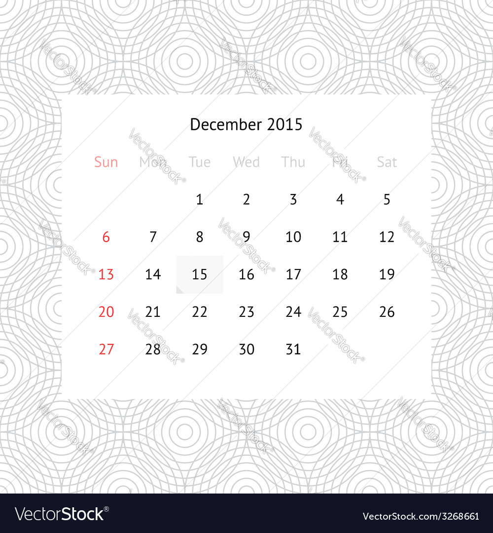Calendar page for december 2015 vector | Price: 1 Credit (USD $1)