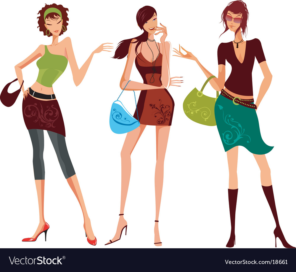 Fashion shopping girls vector | Price: 10 Credit (USD $10)