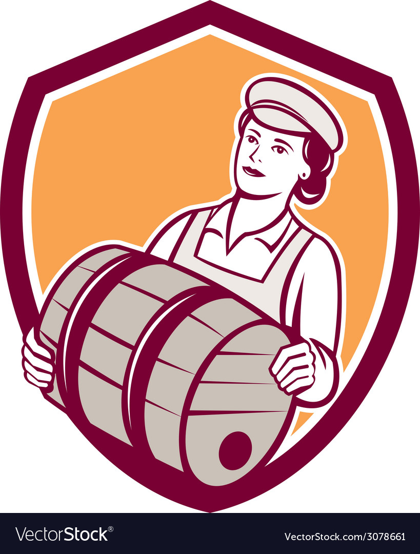 Female bartender carrying keg shield retro vector | Price: 1 Credit (USD $1)