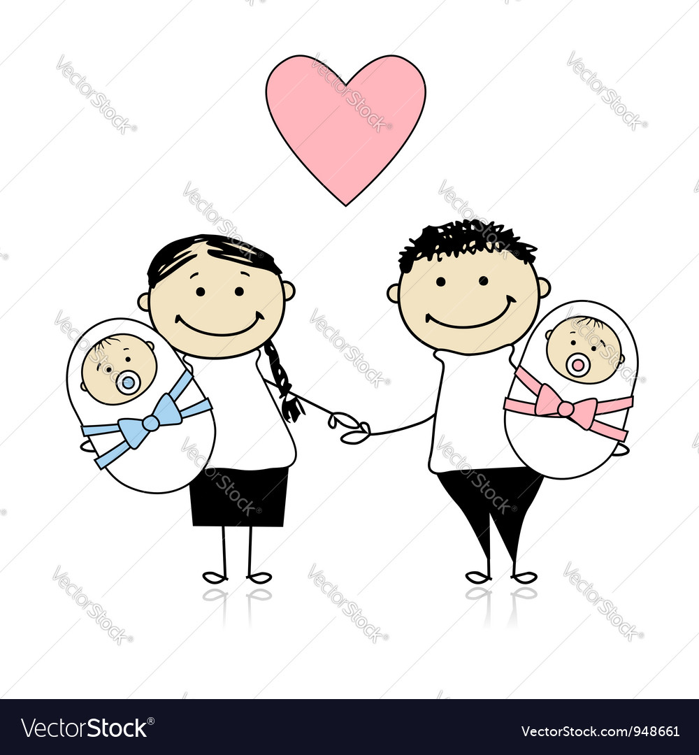 Happy parents with newborn twins vector   Price: 1 Credit (USD $1)