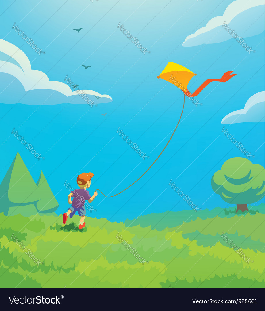 Kid with kite vector | Price: 3 Credit (USD $3)