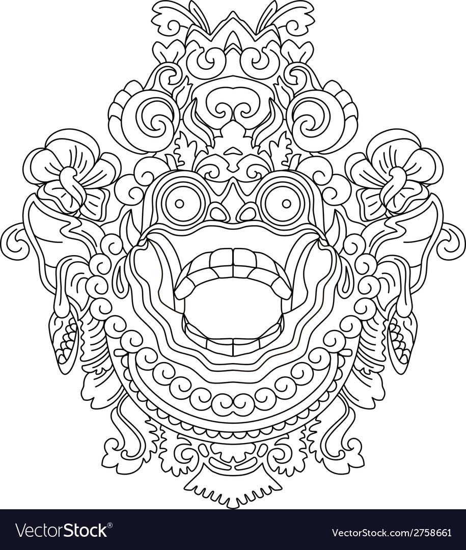 Mythological gods head indonesian traditional art vector | Price: 1 Credit (USD $1)