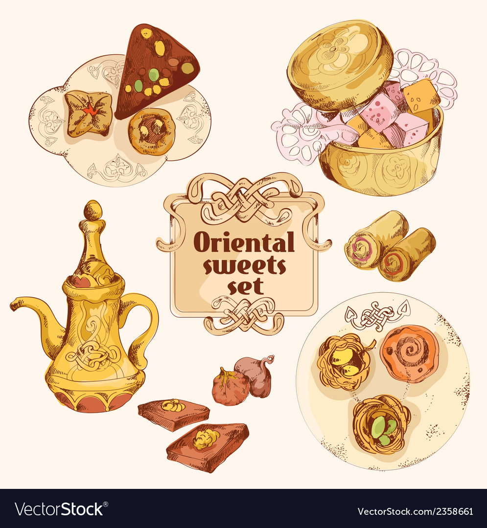 Oriental sweets colored set vector | Price: 1 Credit (USD $1)