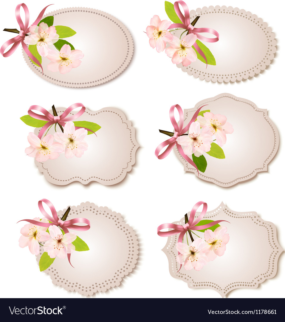 Spring cards with blossoming tree brunch with vector | Price: 1 Credit (USD $1)