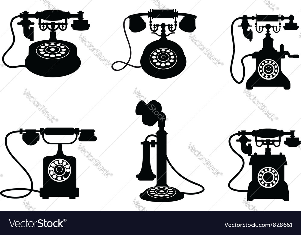 Vintage telephones vector | Price: 1 Credit (USD $1)