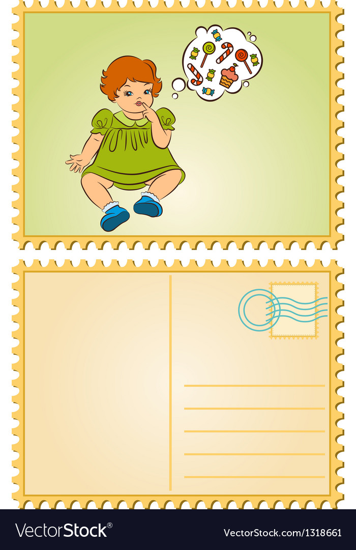 Young retro child vector | Price: 1 Credit (USD $1)