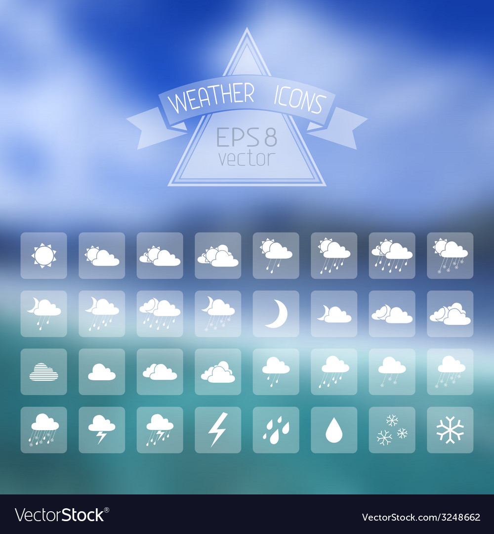 Blur landscape with weather icons vector | Price: 1 Credit (USD $1)