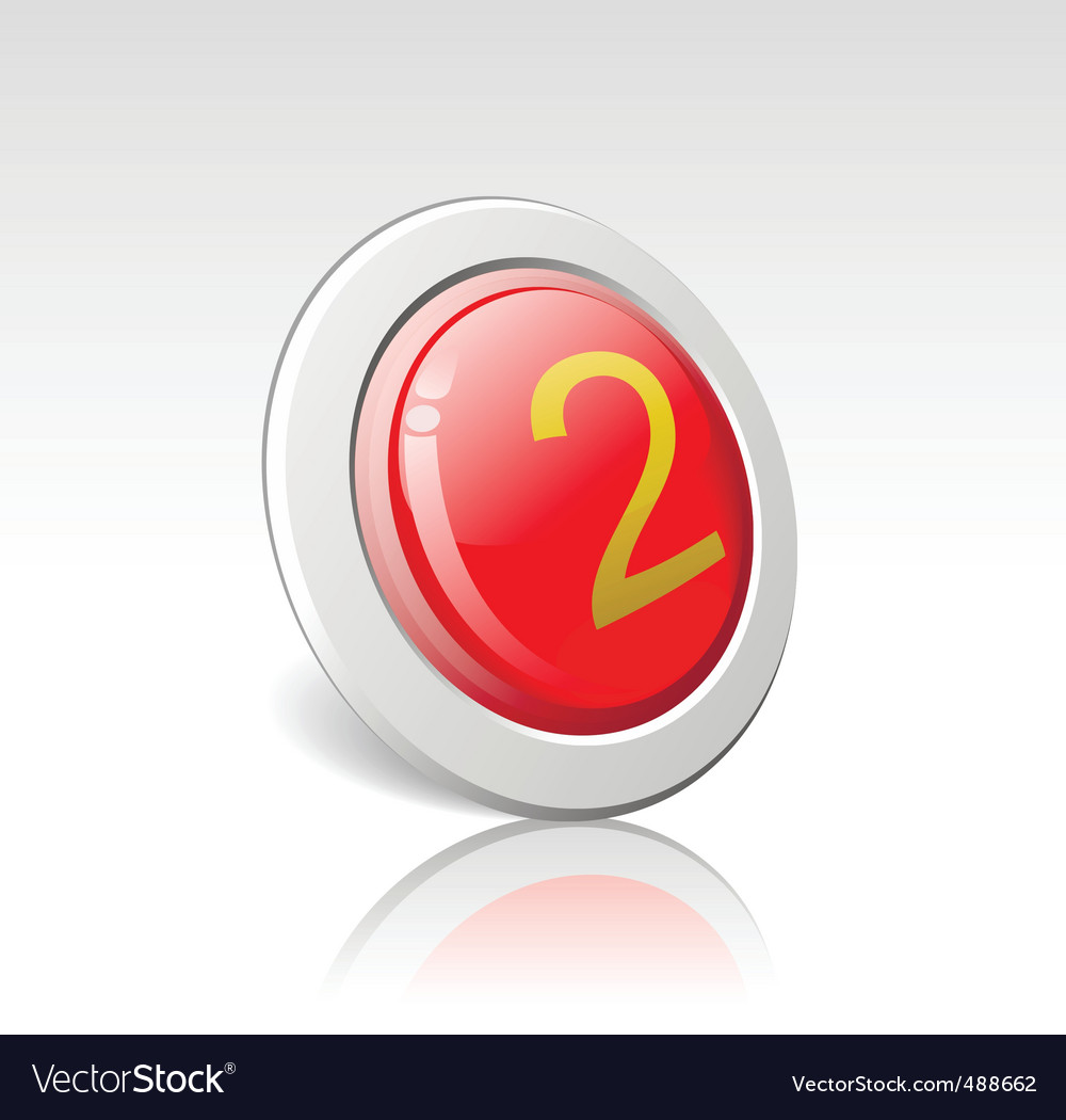 Button with the number 2 vector | Price: 1 Credit (USD $1)