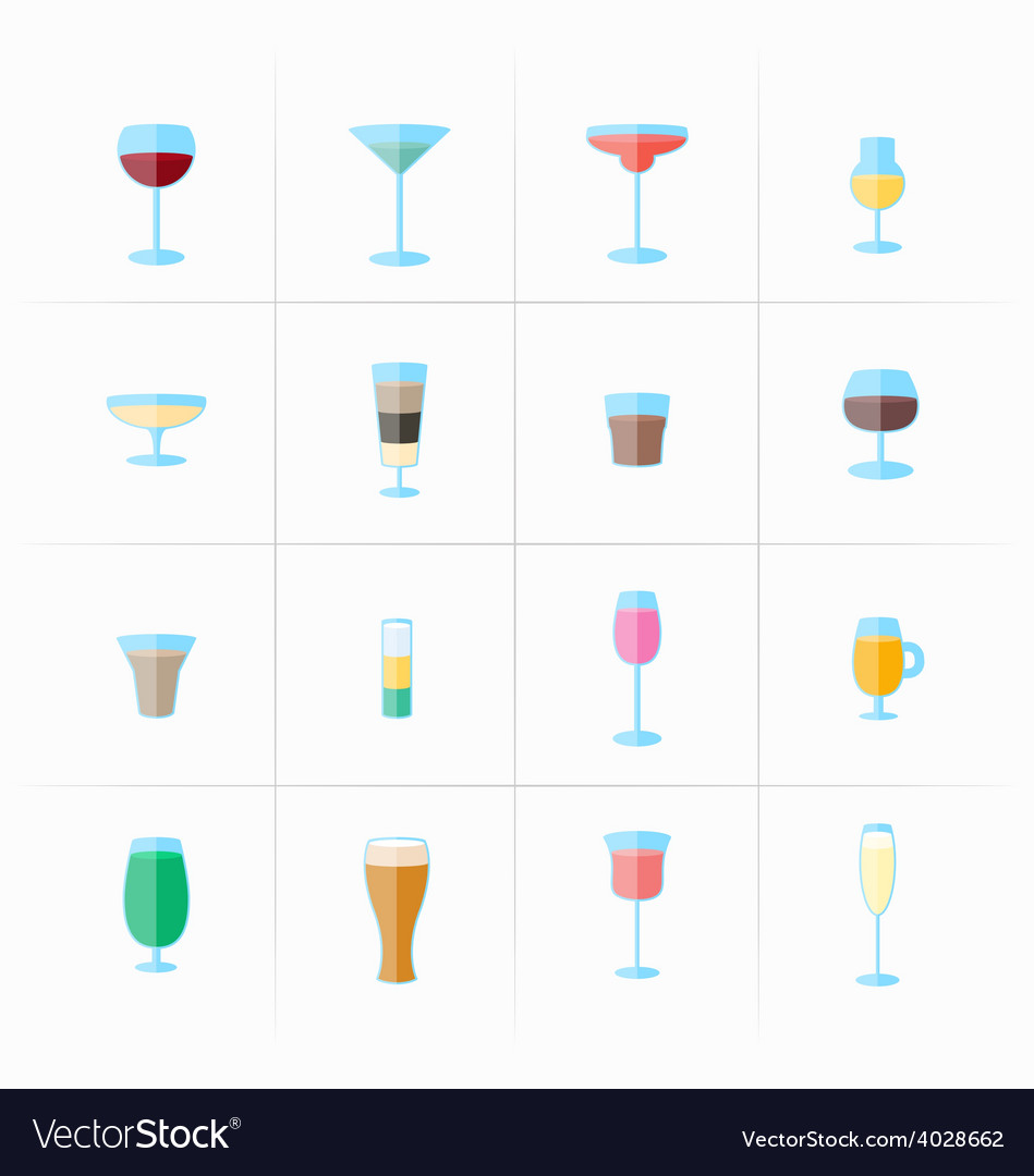 Drink glass icons vector | Price: 1 Credit (USD $1)