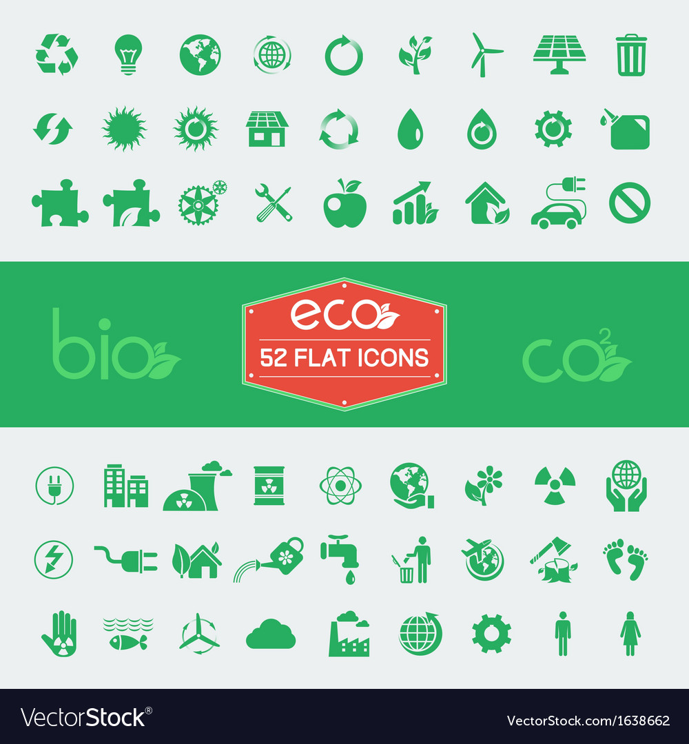 Ecology flat icon set vector | Price: 1 Credit (USD $1)