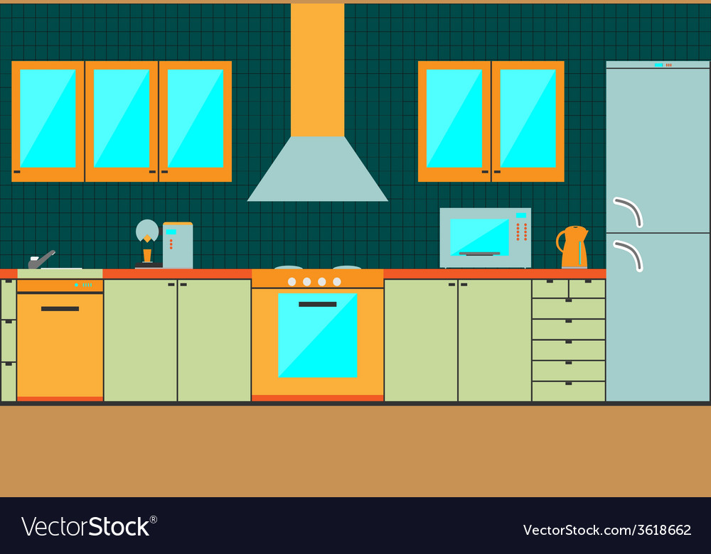 Flat kitchen interior cabinets accessories vector | Price: 1 Credit (USD $1)