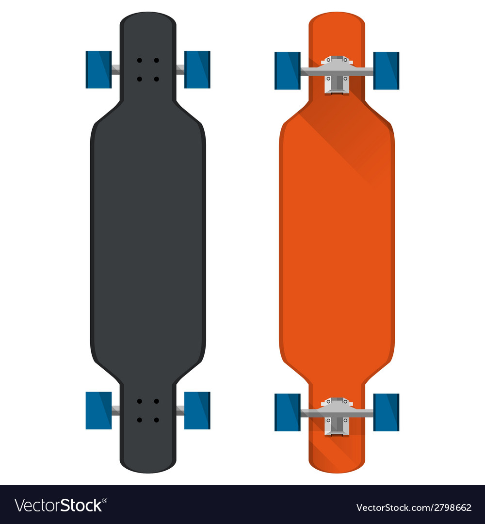 Flat of colored longboards vector | Price: 1 Credit (USD $1)