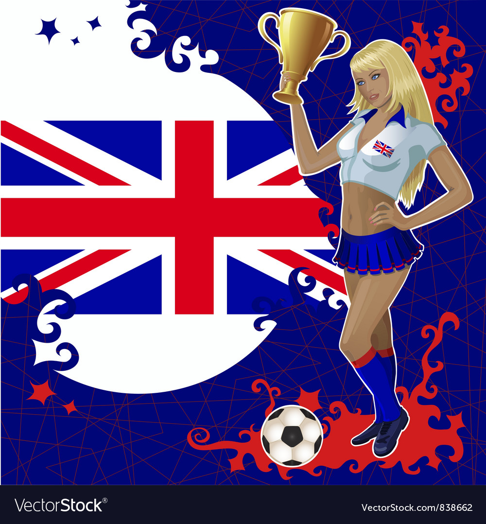 Football poster with girl and great britain flag vector | Price: 3 Credit (USD $3)